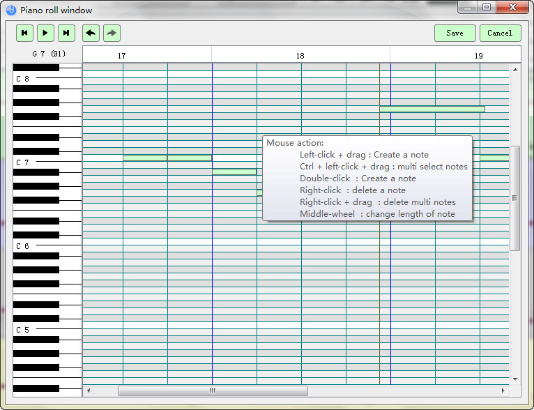 edit notes in piano roll window