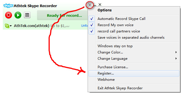 register Skype Recorder