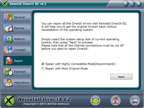 Repair DirectX