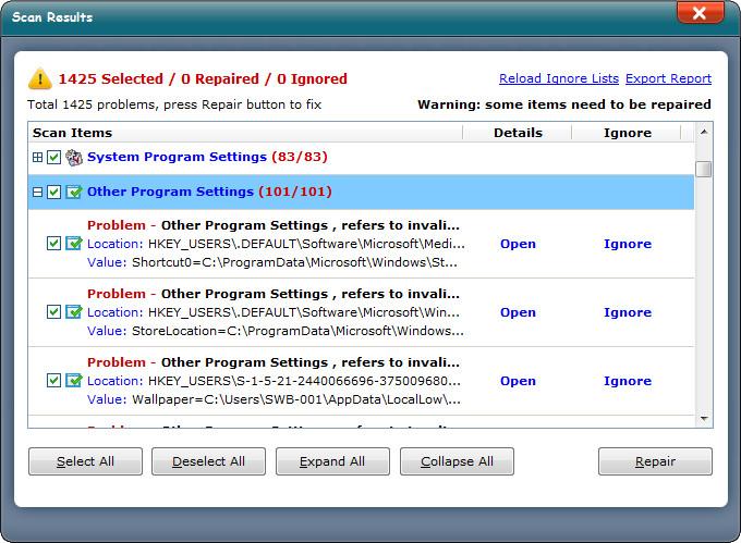 registry other program settings