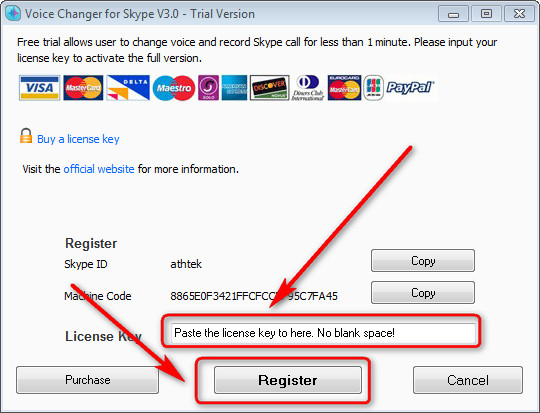 license Voice Changer for Skype