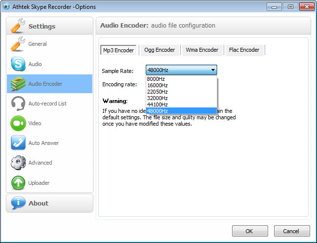 Skype recorder sample rate