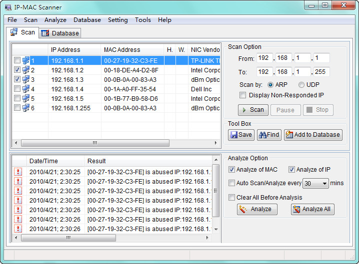 Click to view AthTek IP - MAC Scanner 2.0.5 screenshot