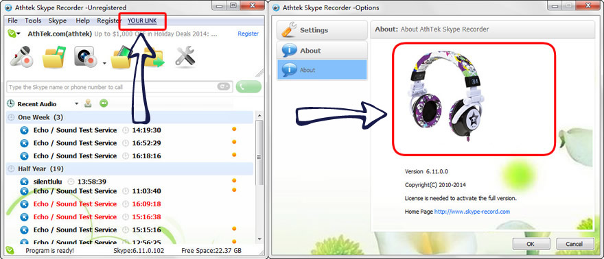 Advertisement on AthTek Skype Recorder