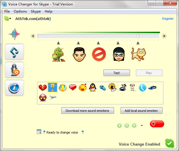 Click to view Skype Voice Changer 2.2 screenshot